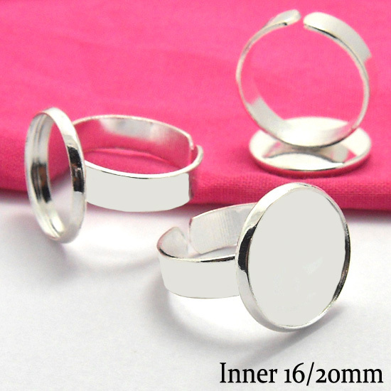 10pcs 16/20mm Fashion DIY Silver-Plated White Ring Blank Bezel Setting Tray Diy Handmade Cabochons Base Vintage Diy Jewelry ...