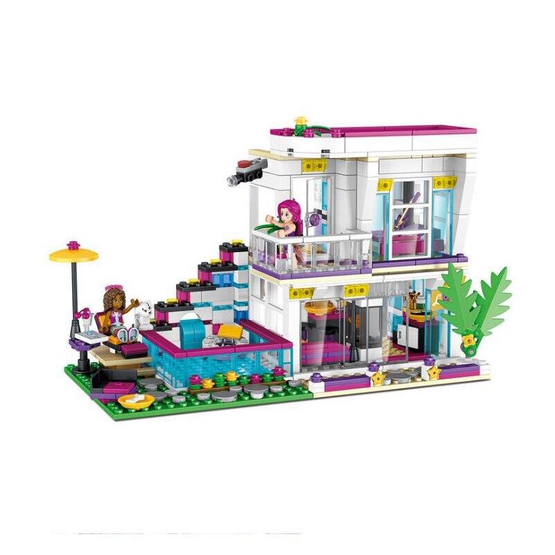 760 piezas niños estrella Pop Livis casa edificio bloque para niñas DIY figuras juguetes educativos 760 Uds. Estrella Pop casa Livi bloques de construcción compatibles Legoinglys amigos para niñas figuras de ladrillos juguetes educativos para niños