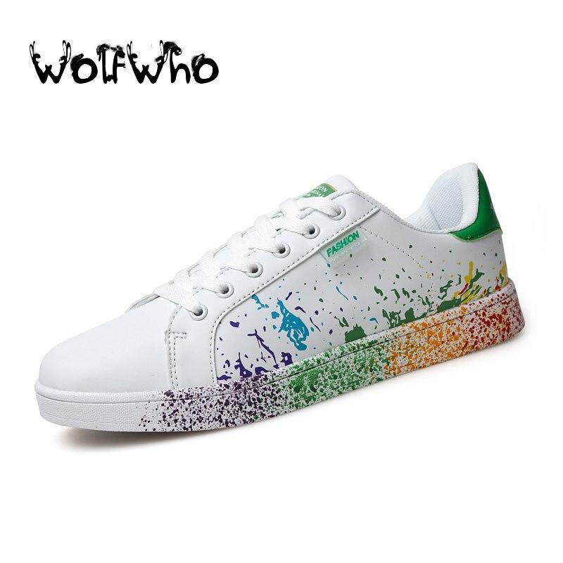 Cesta de calzado casual hombres zapatos transpirables zapatos tenis blanco super