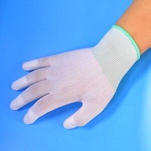 Image 4 - 1 זוג כפפות בתמיסה אנטי סטטי ESD אלקטרוני עבודה כפפות Pu מצופה פאלם מצופה אצבע מחשב מערכות עבור אצבע