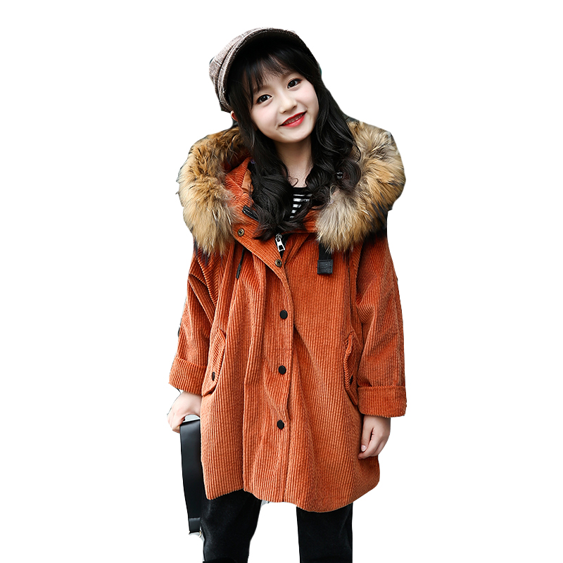 2018 Winter Jackets For Girls Clothes Lamb Wool Fur Hooded Parkas Coats Cotton Thick Outerwear Children Tops Trench 4 6 8 10 12 2018 new fashion suede lamb wool women coats double breasted warm solid thick long overcoat casual winter cotton jackets female