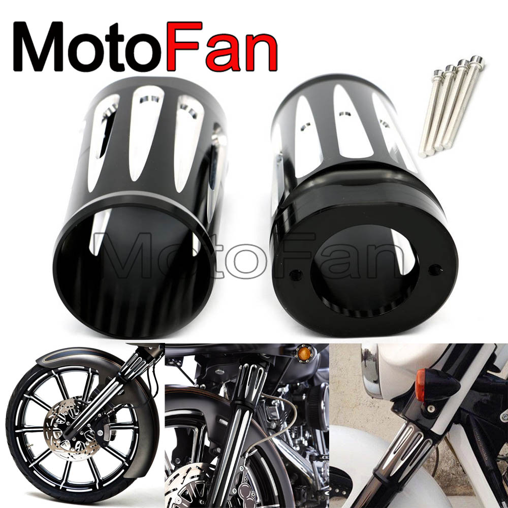 Custom Motorcycle Front Upper Fork Slider Covers Kit for 2014-2016  Harley Davidson Touring Electra Glide Road King Street Glide magnum black pearl upper front brake line 33 90 for harley