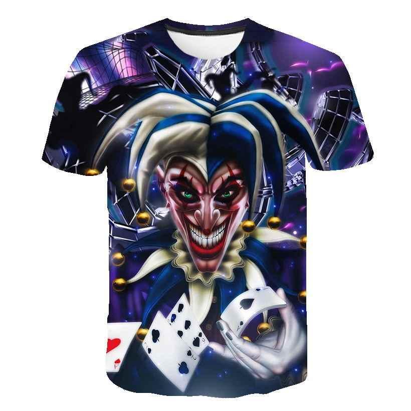 Мужские футболки Черные новые летние модные футболки с 3D принтом в покер Джокер Hombre Fit Slim Бодибилдинг Фитнес-майки унисекс S-5XL