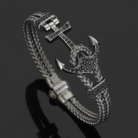 David Kabel Customed Length Men Wrap Wire Braided Bracelet 316L Stainless Steel Men S Anchor Bracelet