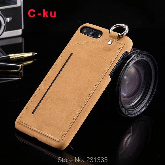 C-ку жесткий кожаный чехол для iPhone 7 7 Plus I7 6 6 S плюс кредитных ID Card слот ремень отверстие Гибридный кожного покрова карман Роскошные 50 шт.