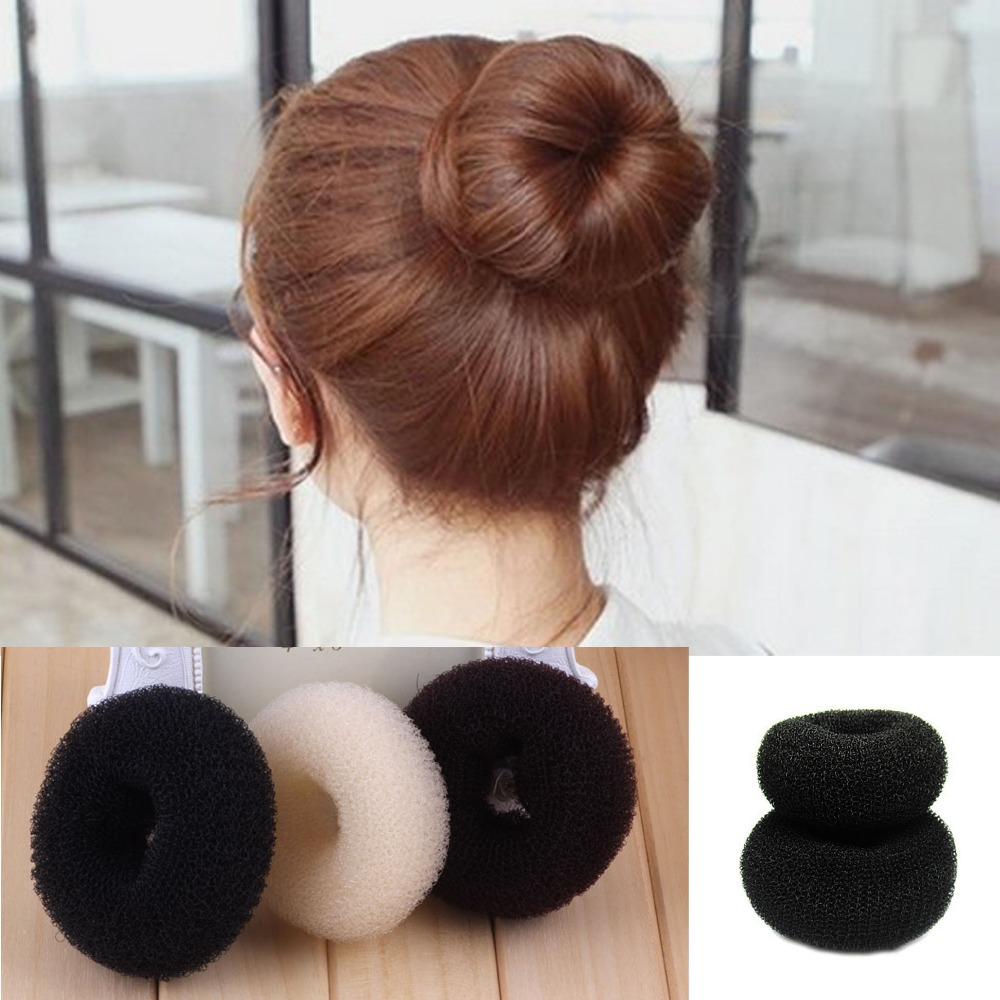 Hair accessories singapore - 3 Size Hair Accessories New Womens Girls Hair Donut Bun Ring Shaper Styler Maker Brown Black