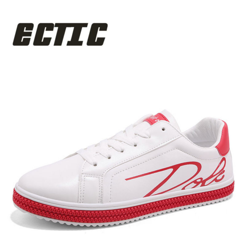 ECTIC fashion Men casual leather shoes Comfortable young Breathable sneaker Shoes lace up Shallow mouth flat shoes 2018 CC-082