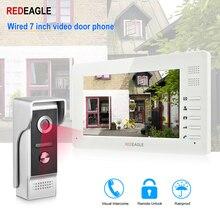 REDEAGLE проводной видео телефон двери 7 дюймов TFT-LCD Цвет экран всепогодный Ночное Видение Дверные звонки камера для квартиры вилла