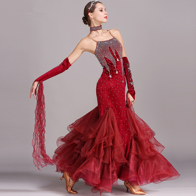5 Colors Ballroom Dance Dresses Women New Sexy Backless Standard Waltz Dancing Costume Adult Black Ballroom