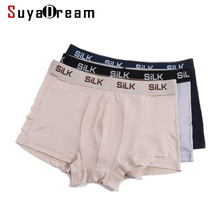 SuyaDream MEN Boxer Shorts 100%Natural Silk Healthy Solid Panties Natural Fabric Underwear