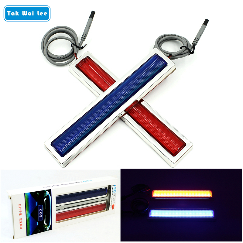 Tak Wai Lee 2Pcs/Set LED DRL Warnning Light External Brakes Parking Car Styling Lamp Red Blue Source Fireman Police Beacon Lamps tak wai lee 1pcs usb led mini wireless car styling interior light kit car styling source decoration atmosphere lighting 5 colors