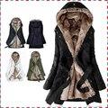 Grosso Hoodies de pele forro de pele do falso das mulheres inverno quente longo casaco de pele dentro casaco de algodão térmica parkas AA1607