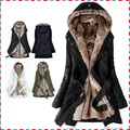 Grueso Faux mujeres forro de piel de sudaderas con capucha de piel de invierno caliente larga fur en el interior escudo algodón de la chaqueta parkas térmicas AA1607