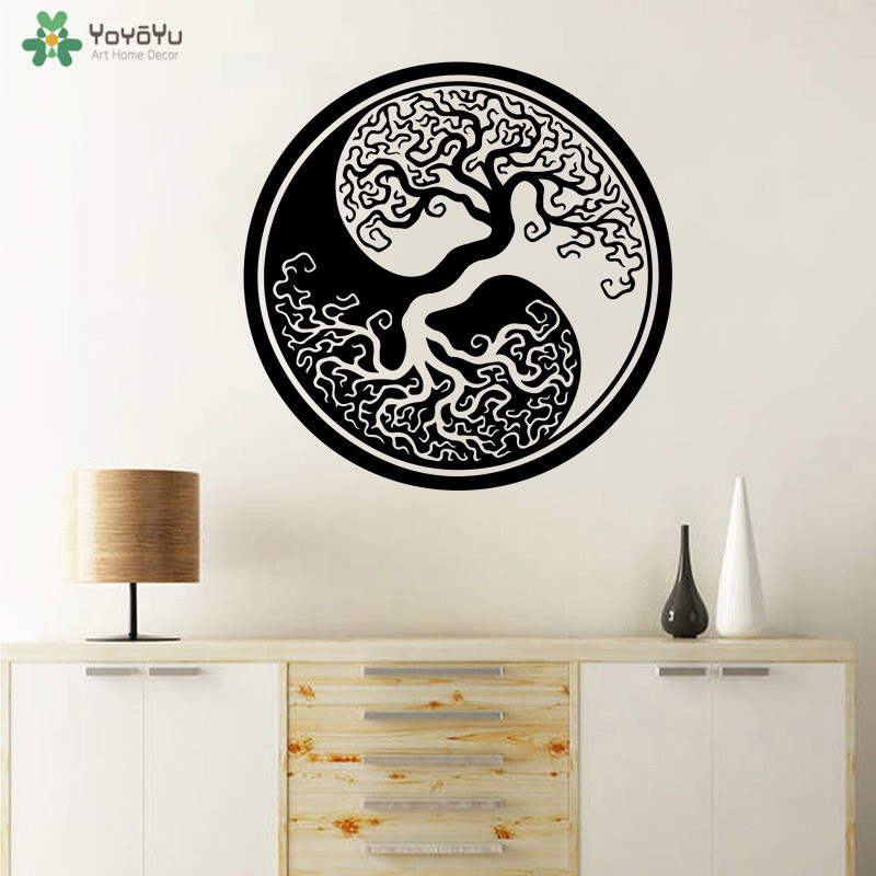 YOYOYU Wall Decal Tree Of Life Vinyl Stickers of Yin Yang Classic Round Art 40 Colors Available QQ305