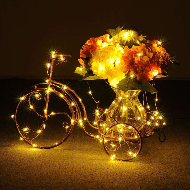 Image 4 - 33FT 10M 100 LEDs Garden LED Solar Lamp Light Solaris Panel Copper Wire String Light Outdoor Fairy Lamp For Wedding Christmas-in LED String from Lights & Lighting on AliExpress