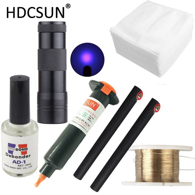 цена на 6 in1 LOCA tp-2500 UV Glue 5ml +UV curing light+Uv Glue Remover 20g +Cutting Wire 50m+clothes For LCD Touch Screen Repair