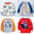 2016 marca de manga longa roupa dos miúdos primavera autumn100 % algodão do menino camiseta 1-6Y criança T-shirt Do Bebê blusa jaqueta leão camisola carros
