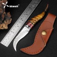 KKWOLF Sheep Horn Handle Damascus Steel Knife High Hardness Sharp Hunting Knife Damascus Camping Survival Knives