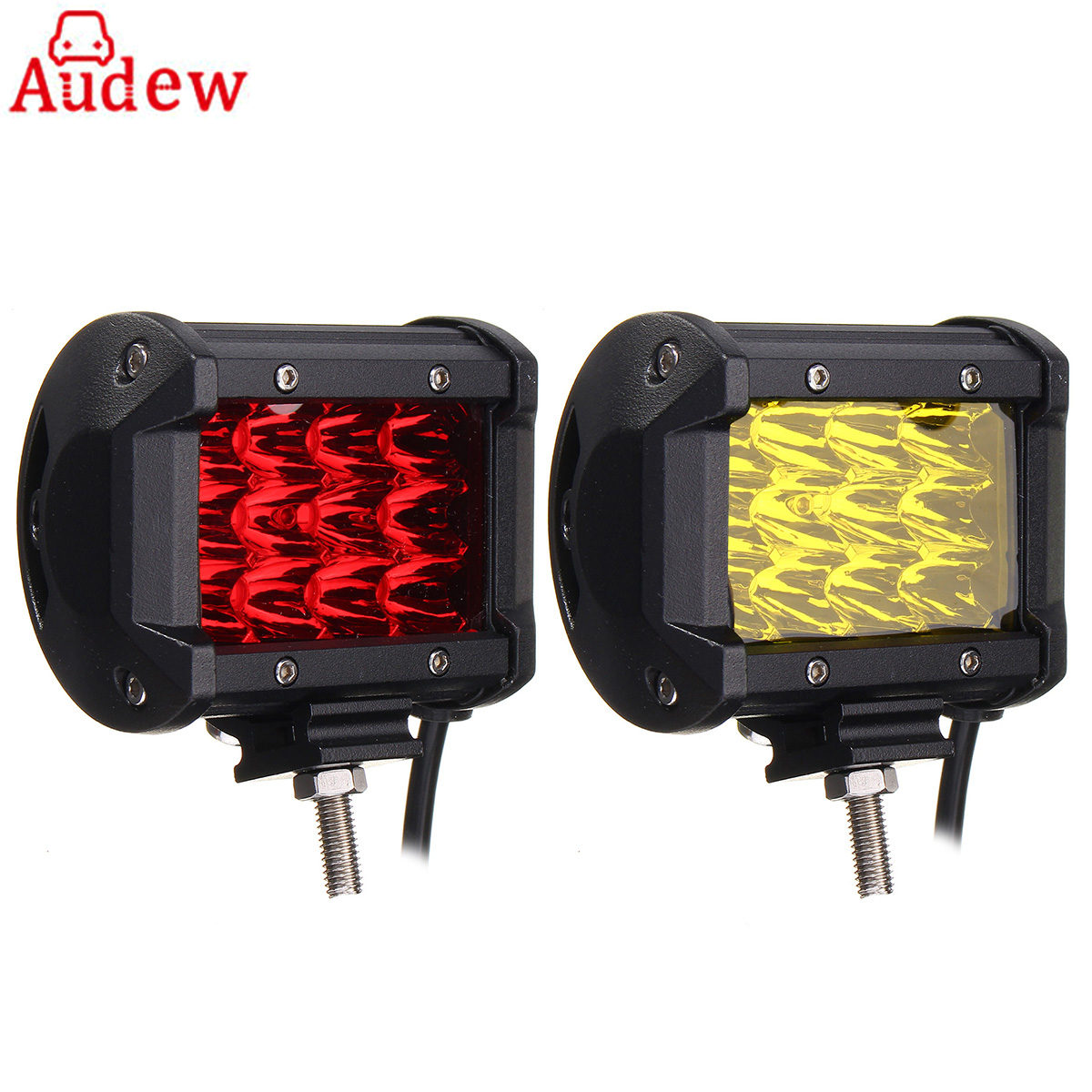 2Pcs Car LED Day Light yellow Red work Lamp 4Inch Spot Flood Lamp Led Driving Lights 12v 24v for Truck  ATV SUV 10w led work light 2 inch 12v 24v car auto suv atv 4wd awd 4x4 off road led driving lamp motorcycle truck headlight