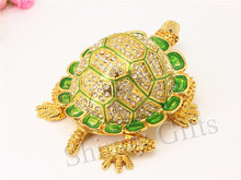 Special offer Full Diamond Turtle Shape Trinket Box Jewelry Box Pewter Materials