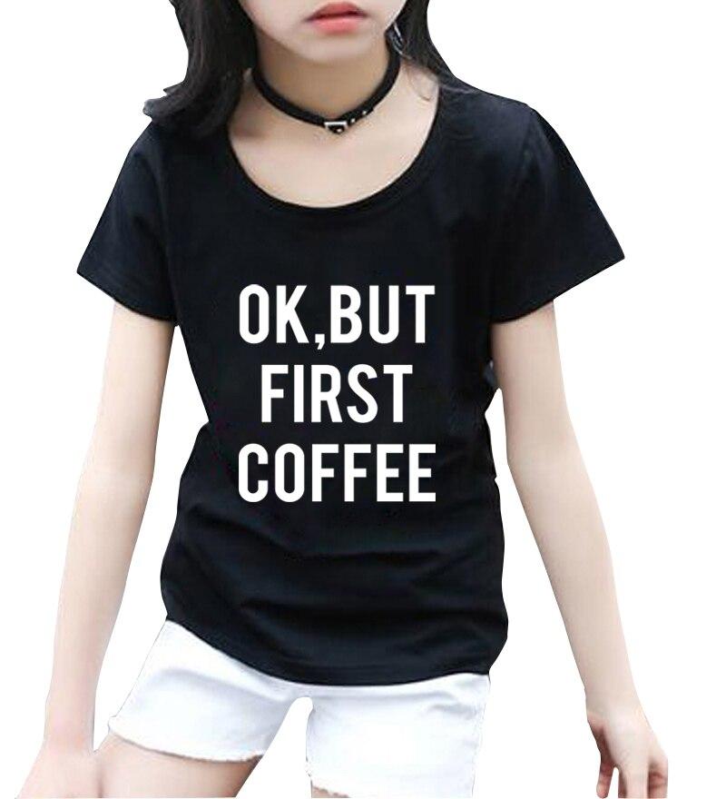 Sincero Ok, Ma First Coffee Stampa Della Lettera Delle Ragazze Delle Magliette 2018 Di Estate Di Nuovo Modo Di Marca Streetwear Pantaloni A Vita Bassa Breve Capretti Del Manicotto T-shirt Pp