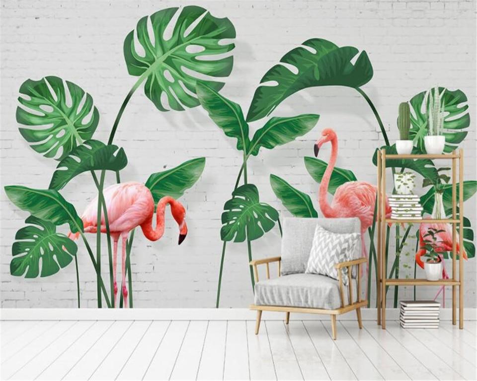 Beibehang Custom Murals Wallpaper Hand Painted Green Leaves Tropical Rainforest Flamingo Photo 3d Wallpaper Papier Peint Murals