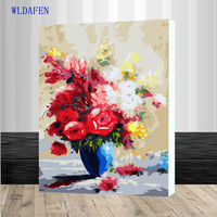 Framed Picture Vintage Flower DIY Painting By Numbers Europe Hand Painted Oil Painting On Canvas Acrylic