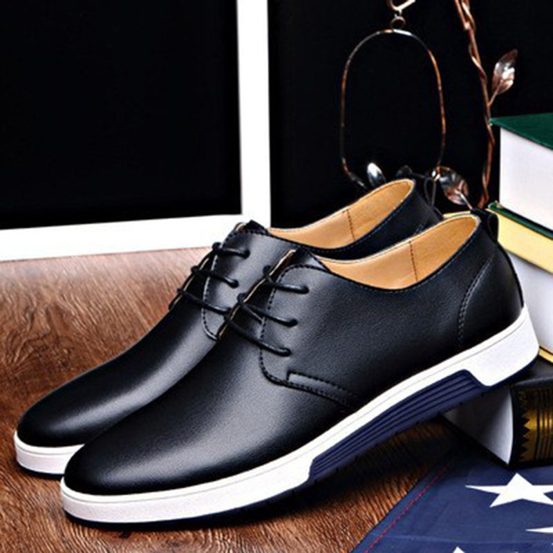 Men Shoes spring 2018 new fashion comfortable flat sneakers Shoes for mn Luxury Leather casual shoes drop Shipping cbjsho brand men shoes 2017 new genuine leather moccasins comfortable men loafers luxury men s flats men casual shoes