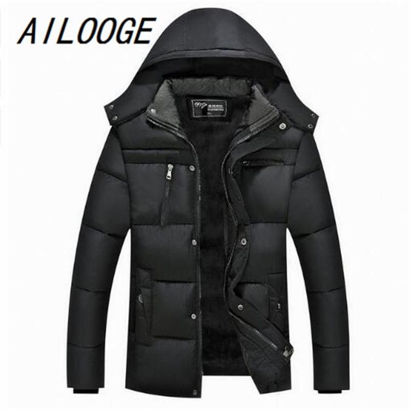 AILOOGE Winter Jacket Men 2017 Cotton Jacket Outwears Male Padded Parka Campera Hombre Invierno Warm Napka Slim Fit Coat Parka цены онлайн