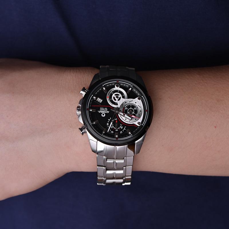 Marca de Luxo Reloj Hombre Calor Casima Relógios Masculinos Esporte Militar Banda Aço Inoxidável Relógio Quartzo Masculino Montre Homme
