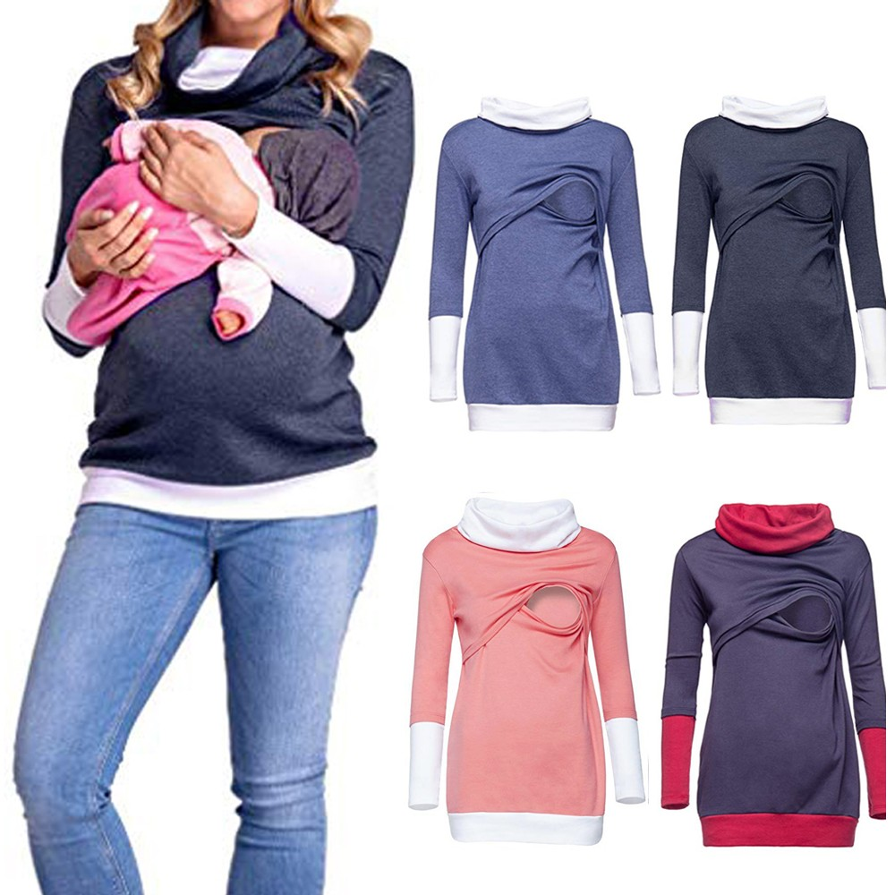 Pregnancy Clothes for Pregnant Women Autumn Daily Colorblock Maternity Nursing Wrap Top Long Sleeve Double Layer Cap T-shirt все цены