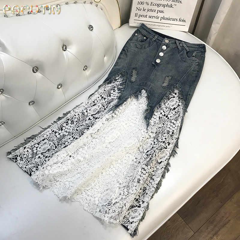 2018 г. Ограниченная серия Saia Faldas Mujer Женская юбка летняя новая ковбойская строчка