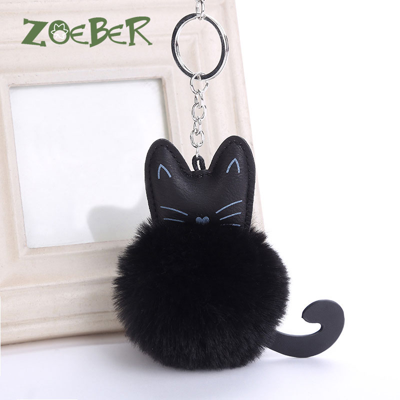 ZOEBR Car Keyring Snow Fur Key Holder Rabbit Fur Ball Key Chain Black Cat Head Doll Keychain Animal Pompom Pendant Charm Jewelry disney princess brass key 2003 holiday collection porcelain doll snow white