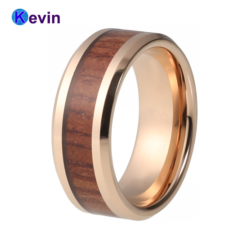Wedding Ring Rose Gold Mens Womens Wedding Band Tungsten Ring With Rosewood Inlay black tungsten carbide with dark wood inlay mens wedding ring
