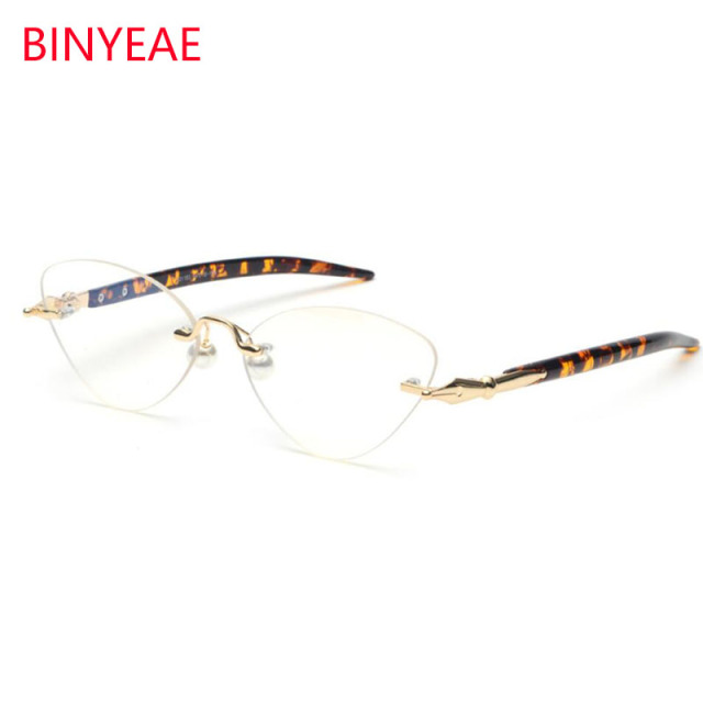 117f1bb080b9 Rimless Eyewear Retro Cat Eye Glasses Fashion Clear Lens Small Spectacle  Frames For Women Pearl Rimless Glasses Leopard Legs