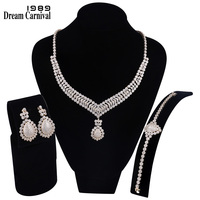 DreamCarnival 1989 New Luxury Clear White Cubic Zirconia Baguette Stones Design 3 pieces Bridal Jewelry Set for Women SN04230