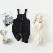 INS осенние, для маленьких девочек брючный костюм с бретельками для девочек Комбинезон Bebes комбинезоны без рукавов пуговицы жилет для девочек Комбинезон