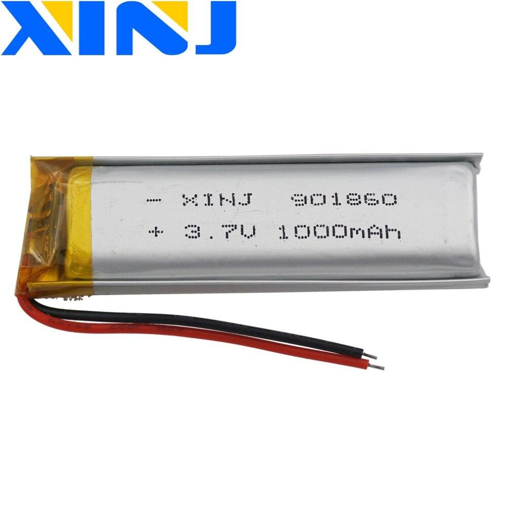 XINJ 3.7V 1000mAh Lithium Polymer Rechargeable LiPo Battery Li Ion Cell 901860 For Camera DVR DVC GPS E-book Driving Recorder