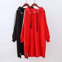 XL To XXXL Solid Black Red Hoodies Women Long Sweatshirt Elastic Plus Size Cotton Full Sleeve