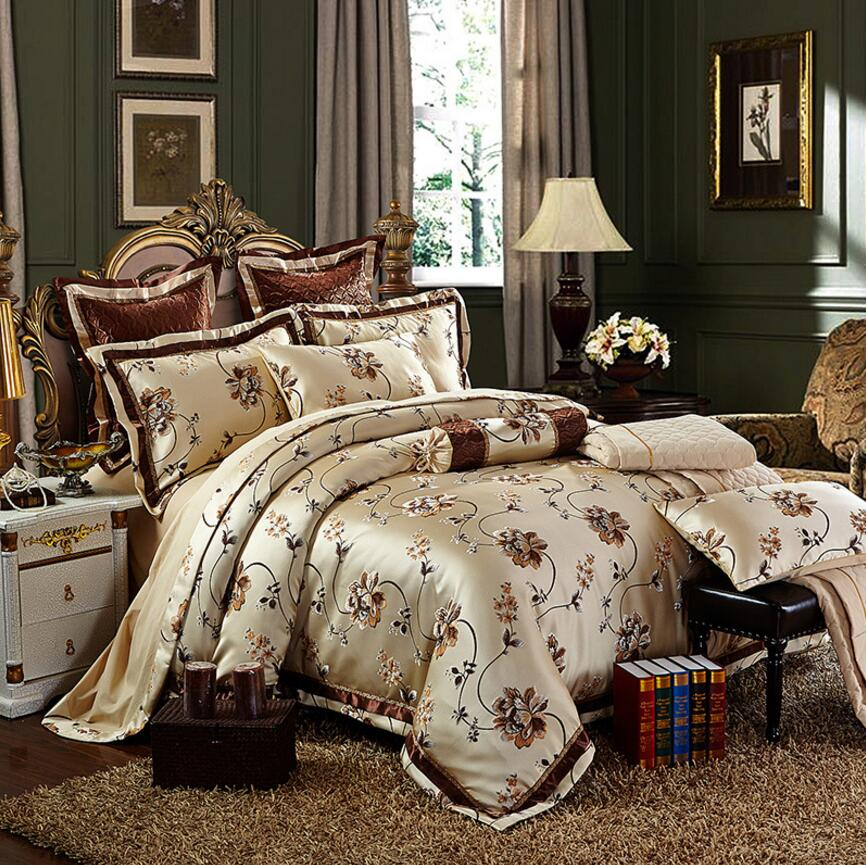 Europe Palace Satin Bedding Set Luxury 4 6pcs High Quality Jacquard Silk Cotton Duvet Cover Bed