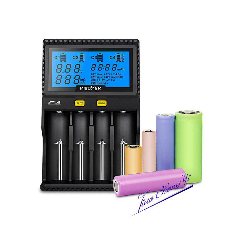 New Smart C4 LCD Intelligent Battery Charger For Li-ion 18650 with Display US/EU