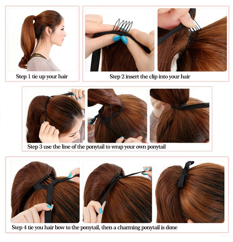 Synthetic Ponytail Hair Extensions 22inch 55cm 100g Long Curly Hair