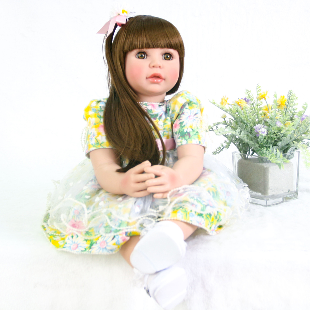 60cm Silicone Reborn Girl Baby Doll Toys Vinyl floral Princess Toddler Babies Dolls longhair girl bebe dolls for kids birthday60cm Silicone Reborn Girl Baby Doll Toys Vinyl floral Princess Toddler Babies Dolls longhair girl bebe dolls for kids birthday