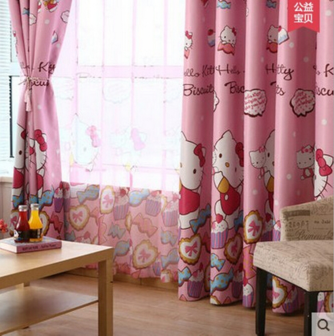 Çocuk karikatür pembe karartma perdeleri kitty kız prenses odası - Ev Tekstili - Fotoğraf 2