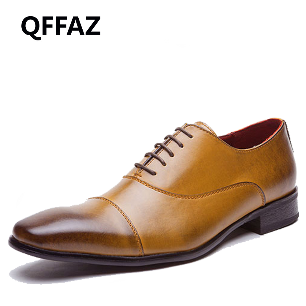 QFFAZ Men Business Dress Formal Shoes Wedding Pointed Toe Fashion Genuine Leather Shoes Flats Oxford Shoes