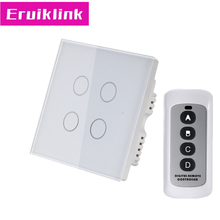UK Standard Touch Switch,4 Gang 1 Way Crystal Tempered Glass RF433 Wireless Remote Control Wall Light Switches uk standard 4 gang rf433 remote control wall touch switch smart home wireless remote control light switches single firewire