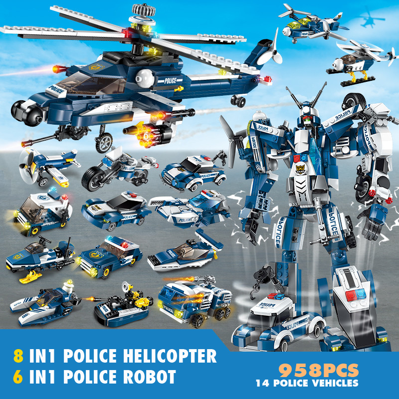 New Police 958pcs 6in1 Transformation Robot 8in1 Helicopter Building Bricks Set Toy Blocks Construction Children Toys for Boys nitrogen transformation in vertisol under soybean wheat system