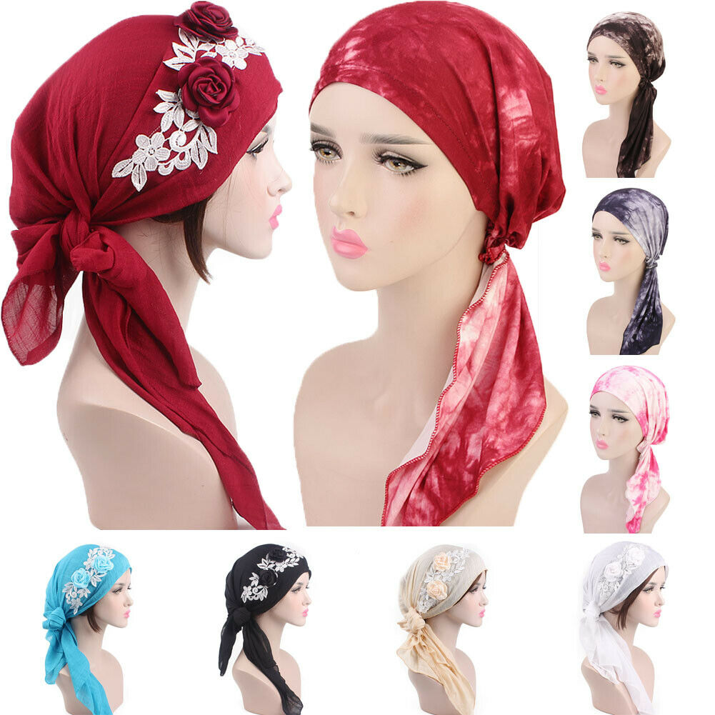 2019 New Women Head Scarf Chemo Hat Turban Pre-Tied Headwear Bandana Tichel Cancer   Beanies   Dropshipping