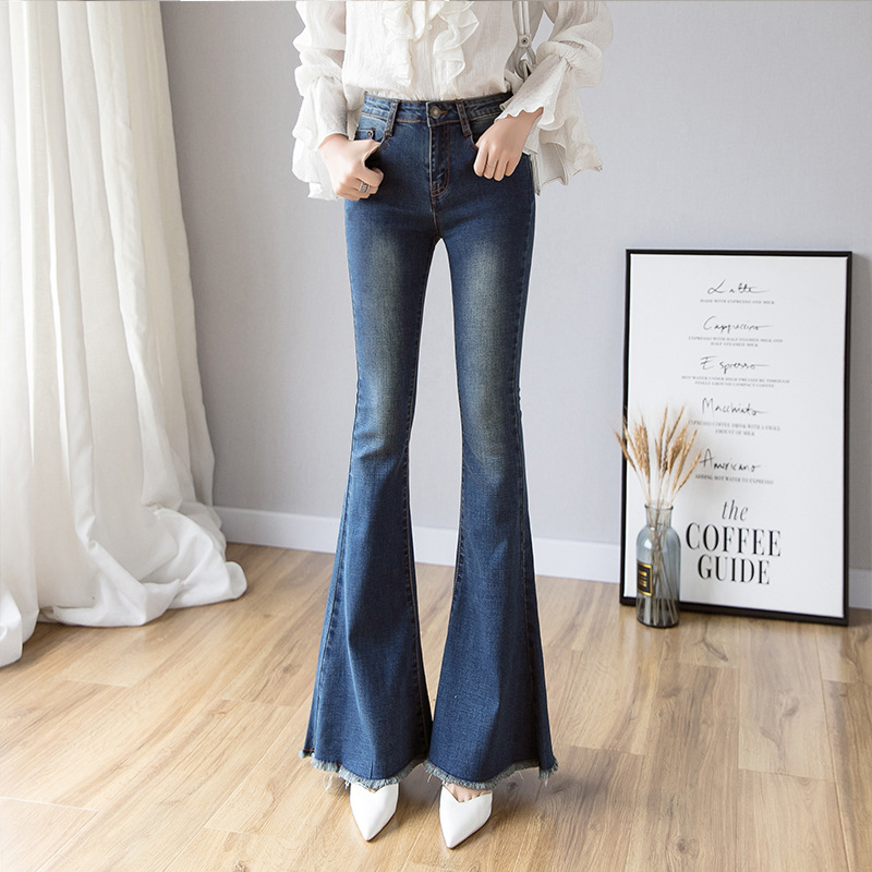 Vintage Long High Waisted Flare Jeans For Women Wide Leg Jeans Denim Pant Curvy Stretch Mom Skinny Bell Bottom Jeans Female image