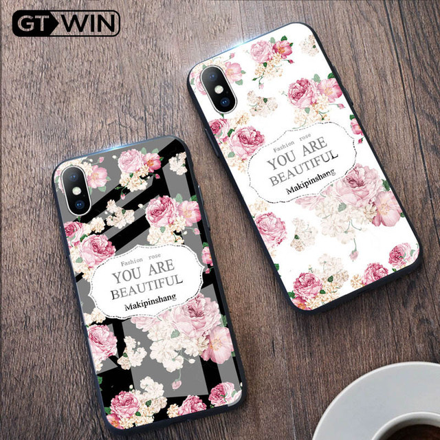 Luxury Tempered Glass Case For iPhone Rose Cherry Flower Protective Back Cover 5